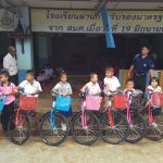 Happy students and recipients of the bicycles from BAN CHOK DEE SCHOOL, KHLUNG DISTRICT